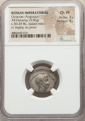 Ancients:Roman Imperial, Ancients: Octavian, as Sole Imperator (31-27 BC). AR denarius (19mm, 3.83 gm, 3h). NGC Choice VF 3/5 - 4/5....