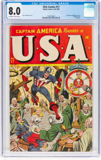 USA Comics #17 (Timely, 1945) CGC VF 8.0 Off-white to white pages