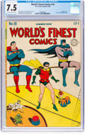 Golden Age (1938-1955):Superhero, World's Finest Comics #18 (DC, 1945) CGC VF- 7.5 Off-white to white pages....