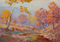 Fine Art - Painting, American, John Eliot Jenkins (American, 1868-1937). At the Creek. Oilon canvas laid on board. 21 x 30 inches (53.3 x 76.2 cm). Si...