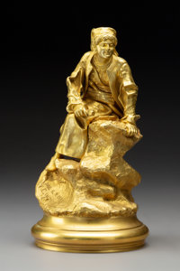 Vasily Grachev (Russian, 1831-1905) Herzegovian on the Lookout, 19th century Gilt Bronze 9-1/8 x
