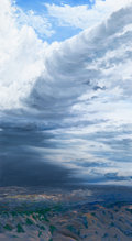 Fine Art - Painting, American:Contemporary   (1950 to present), William Berra (American, b. 1952). Storm Over Santa Fe, NewMexico, 1986. Oil on canvas. 46 x 26-1/2 inches (116.8 x 67....
