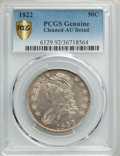 Bust Half Dollars, 1822 50C -- Cleaning -- PCGS Genuine Gold Shield. AU Details. NGC Census: (23/318 and 0/3+). PCGS Population: (102/527 and ...