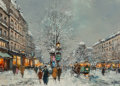 Paintings:Contemporary   (1950 to present), Antoine Blanchard (French, 1910-1988). Paris in the snow. Oil on canvas. 13 x 18 inches (33.0 x 45.7 cm). Signed lower l...