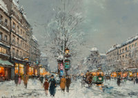 Antoine Blanchard (French, 1910-1988) Paris in the snow Oil on canvas 13 x 18 inches (33.0 x 45.7