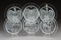 Glass, Twelve Lalique Clear and Frosted Glass Annual Plates, circa 1966-1976. Marks: Lalique, France. 5/8 x 8-3/4 x 8-3/4 inche... (Total: 12 Items)