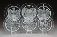 Twelve Lalique Clear and Frosted Glass Annual Plates, circa 1966-1976 Marks: Lalique, France 5/8 x 8