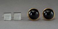 Two Pairs of Lalique Cufflinks, late 20th century Marks: LALIQUE, France, (various) 1-3/8 x 1 x 1 in