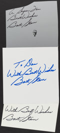 Autographs:Index Cards, Bart Starr Signed Cut Lot of 3. ...