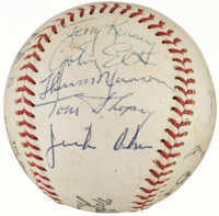1969 New York Yankees Team Signed Baseball with Rookie Thurman Munson (19 Signatures)