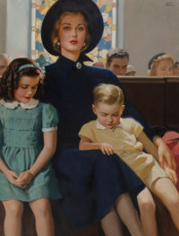 Andrew Loomis (American, 1892-1959) Mother and Children in Church Oil on canvas 40 x 30 in. Signed upper right