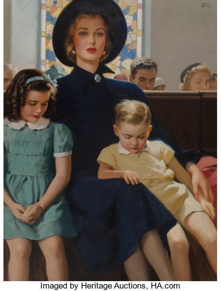 Andrew Loomis (American, 1892-1959) Mother and Children in Church Oil on canvas 40 x 30 in. Signed upper right ...