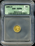 1851-C G$1 AU50 ICG. Variety 5-E. Dark-golden example with some minute copper spots scattered across the surfaces. Wispy...