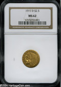 Indian Quarter Eagles: , 1911-D $2 1/2 MS62 NGC....