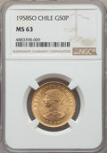 Chile, Chile: Republic gold 50 Pesos 1958-So MS63 NGC,...