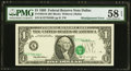 Overprint Misaligned Error Fr. 1922-K $1 1995 Federal Reserve Note. PMG Choice About Unc 58 EPQ