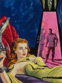 Edmund Emshwiller (American, 1925-1990) Science Fiction Quarterly cover preliminary, February 1957 Acrylic on board 8
