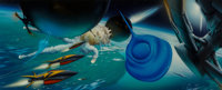 Jim Burns (American, b. 1948) The Reality Dysfunction recreation Acrylic on board 19-1/2 x 48-1/2 inches Initialed a