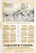 Memorabilia:Miscellaneous, Robert Crumb The Book Reader Calendar Production CompositionPaste-Up (Carlson & Turner, 1990)....