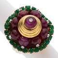Estate Jewelry:Rings, Ruby, Emerald, Diamond, Gold Ring. ...
