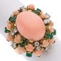 Estate Jewelry:Rings, Coral, Emerald, Diamond, Gold Ring. ...