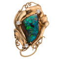 Estate Jewelry:Brooches - Pins, Boulder Opal, Diamond, Colorless Sapphire, Gold Brooch . ...