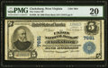National Bank Notes:West Virginia, Clarksburg, WV - $5 1902 Plain Back Fr. 598 The Union NB Ch. # 7681PMG Very Fine 20.. ...
