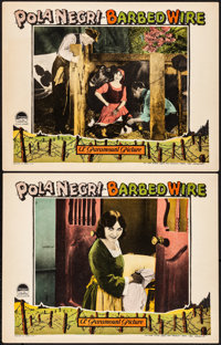 "Barbed Wire (Paramount, 1927). Very Fine+. Lobby Cards (2) (11"" X 14""). War. From the Collection of Frank Buxt..."