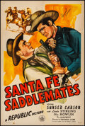 """Movie Posters:Western, Santa Fe Saddlemates (Republic, 1945). Fine+ on Linen. Autographed One Sheet (27"""" X 41""""). Western.. ..."""