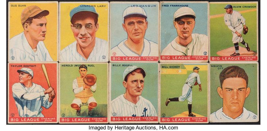 1933 Goudey Baseball Card Collection 10 With Hofers