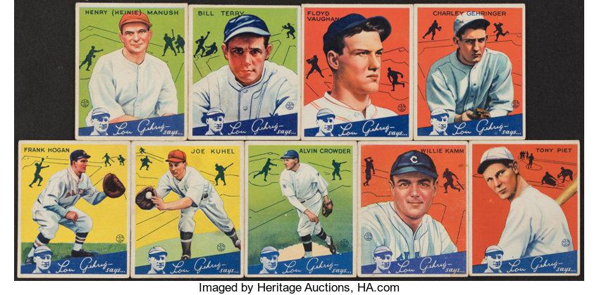 1934 Goudey Baseball Card Collection 9 With Hofers