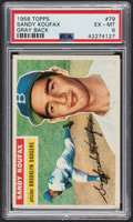 Baseball Cards:Singles (1950-1959), 1956 Topps Sandy Koufax (Gray Back) #79 PSA EX-MT 6....