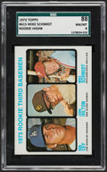 Baseball Cards:Singles (1970-Now), 1973 Topps Mike Schmidt - Rookie 3rd Basemen #615 SGC 88 NM/MT8....