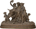 Sculpture, A French Terracotta Figural Group on Carved Wood Base, 19th century. 18 x 24-1/2 x 10-1/2 inches (45.7 x 62.2 x 26.7 cm) (ov...