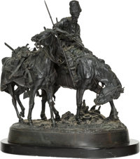 A Russian Bronze Group of Zaporezh Cossack After Battle Cast from a model by Evgeni Alexandrovich Lanceray (Russian, 184...