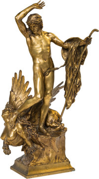 After François Léon Sicard (French, 1862-1934) Oedipe et le Sphynx Bronze with gilt 27-1/2 inches