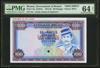 Brunei Government of Brunei 100 Ringgit ND (1972-88) Pick 10s KNB10S Specimen PMG Choice Uncirculated 64 Net