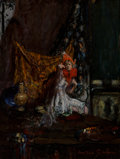 Paintings, Indiana Gyberson (American, 1875-1944). Pierrette in the Studio, Frivolitas. Oil on board. 14-1/4 x 11 inches (36.2 x 27...