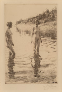 Anders Leonard Zorn (Swedish, 1860-1920) Shallow, 1913 Etching on paper 11-3/4 x 7-1/2 inches (29