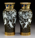 Ceramics & Porcelain, A Pair of Mintons Partial Gilt and Enameled Pâte-sur-Pâte Porcelain Vases Decorated by Albion Birks, Stoke-on-Trent, Staffor... (Total: 2 Items)