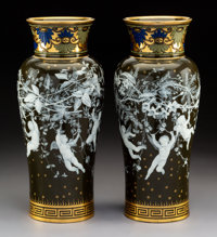 A Pair of Mintons Partial Gilt and Enameled Pâte-sur-Pâte Porcelain Vases Decorated by Albion Birks, Stoke-o...