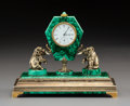 Clocks & Mechanical, An Exceptional Russian Cabochon-Mounted Gilt Silver and Malachite Table Clock with Longines Movement, Moscow, 1908-1926. Mar...
