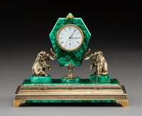 An Exceptional Russian Cabochon-Mounted Gilt Silver and Malachite Table Clock with Longines Movement, Moscow, 1908-19