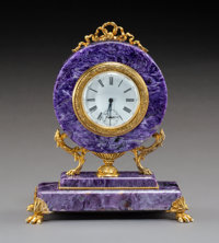 A Russian Charoite and Gilt Silver Mantel Clock, Moscow, 1908-1926 Marks: (88-right-facing kokoshnik ), (?? maker'