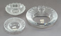 Glass, Three Lalique Glass Table Articles, post-1945. Marks to two: Lalique ® France. 2 x 5-3/4 inches (5.1 x 14.6 cm) (largest... (Total: 3 Items)