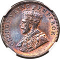 India:British India, India: British India. George V 1/4 Anna 1911-(c) MS65 Brown NGC,...