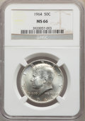 Kennedy Half Dollars, 1964 50C MS66 NGC. NGC Census: (1371/58). PCGS Population: (1612/76). MS66. Mintage 273,300,000. ...