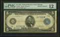 Large Size:Federal Reserve Notes, Fr. 870* $5 1914 Federal Reserve Star Note PMG Fine 12.. ...