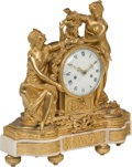 A Louis XVI-Style Gilt Bronze and Marble Figural Mantel Clock, France, 19th century 16-3/4 x 15-1/2 x 6-1/2 inches
