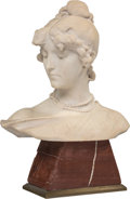 Sculpture, Aristide Petrilli (Italian, 1868-1930). Bust of a Young Woman. White marble on red marble and bronze base. 22 x 16-1/2 x...